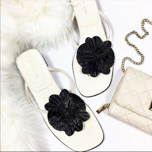 Kate Spade Square Sandal Kitten Heel Black Flower